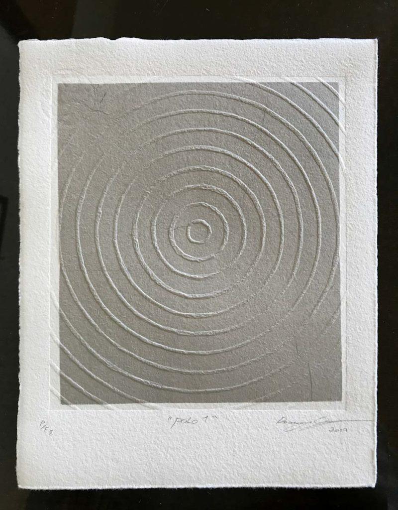 Un grabado usando la variacion de chine colle sin tinta.