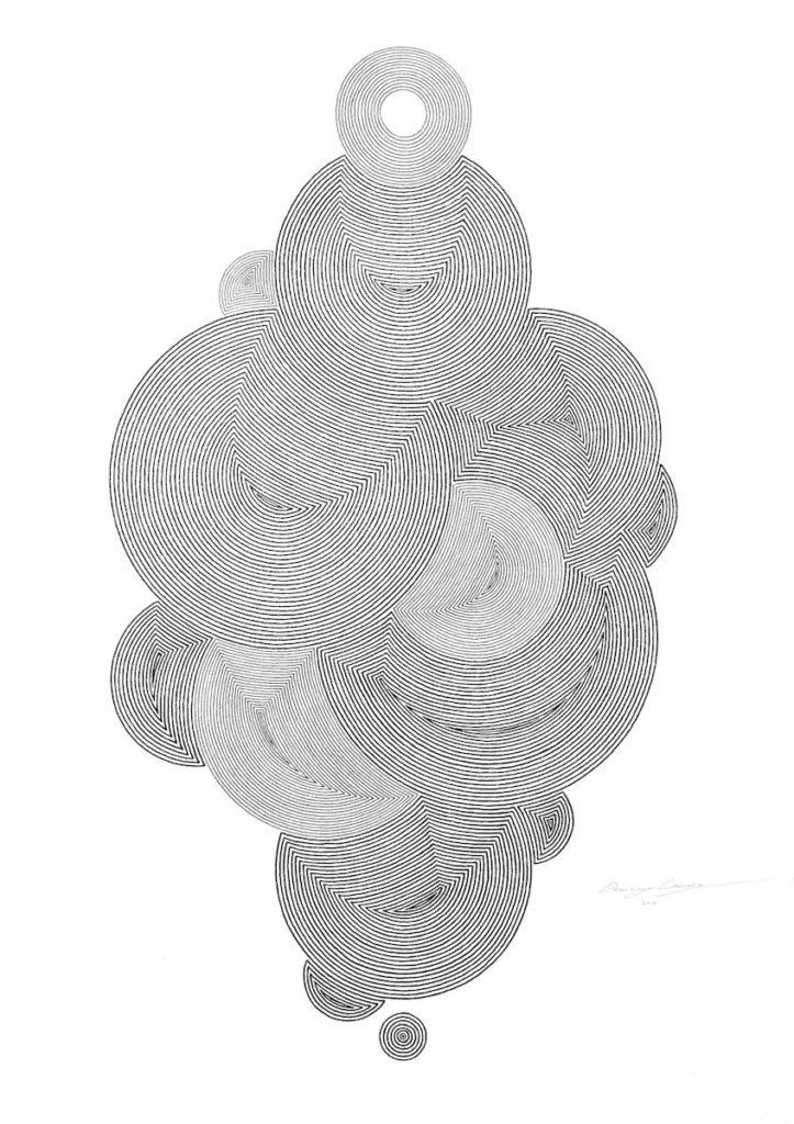 Un dibujo de la serie Concentricos, en tinta sobre papel, con washeados en acrilico. Pieza emblematica de la obra del artista.